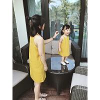 亲子装连衣裙夏季母女装吊带连衣裙 女童女宝宝婴儿吊带裙