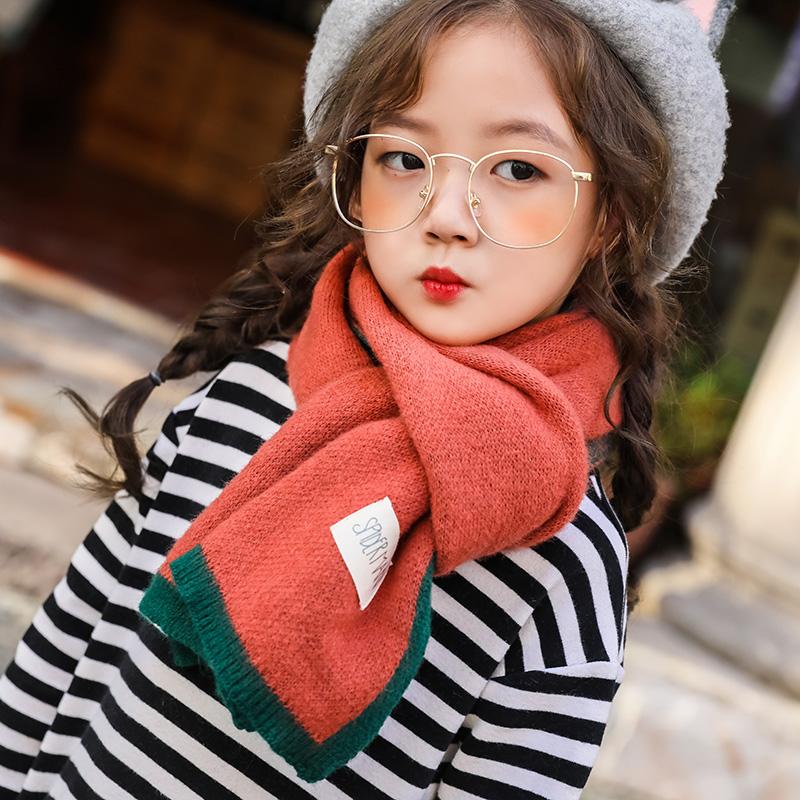 儿童围巾秋冬韩版潮针织毛线围脖糖果色女童男童韩国宝宝保暖冬季