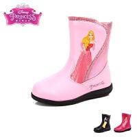 迪士尼儿童新款防滑大底时尚中大童雨靴学生小孩水鞋套中筒宝宝雨靴秋冬季DS1933