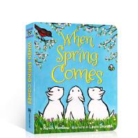 英文原版 When Spring Comes Board Book当春天来临 纸板书 儿童启蒙季节变化 画风唯美