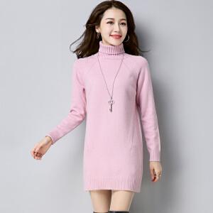 安妮纯高领毛衣女套头加厚中长款韩版长袖宽松时尚毛衣裙新款针织打底衫