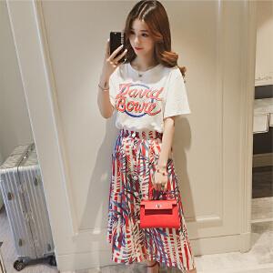 哆哆何伊2018春夏新款韩版字母短袖T恤休闲套装女小清新印花半身裙两件套