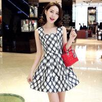 2018春装新款韩版大码女装春夏季时尚修身中长裙子无袖格子连衣裙 黑白格
