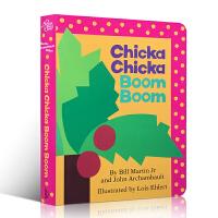 英文原版进口Chicka Chicka Boom Boom叽喀叽喀碰碰廖彩杏有声书单 入门启蒙早教26字母儿童纸板童书