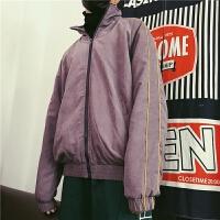 韩国街头复古做旧美式休闲运动加绒教练夹克男女潮人情侣网红外套