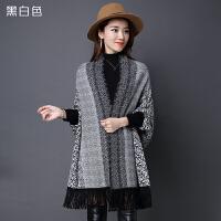 羊绒披肩带袖子外套女秋冬季加厚绒斗篷流苏围巾中长款