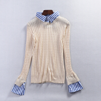 【4件6折】C@1 2018春季新款韩版拼色POLO领女式假两件针织毛衣