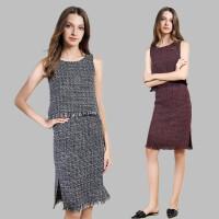 秋季时尚气质女装休闲圆领无袖开衩包臀裙修身显瘦两件套套装