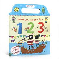 英文原版 Look and Learn Fun 123儿童启蒙英语基础入门练习册 手提式趣味活动书 单词数字启蒙 亲子