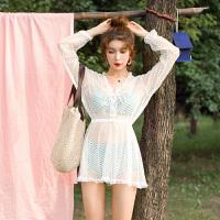 性感泳衣女士比基尼三件套长袖泡温泉韩国小香风显瘦钢托聚拢泳装