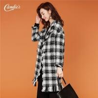 羊毛毛呢外套女中长款2018冬季新款韩版保暖宽松流苏格子呢子大衣