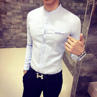 春秋装新款男士长袖衬衫韩版修身立领棉麻衬衣休闲发型师夜店上衣