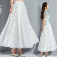 2018实拍新款女装侧边绣花中长半身裙透气舒适百褶裙 白色 均码