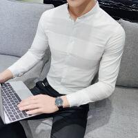 新品18春装新款男士韩版修身清爽色格子长袖衬衫潮流青年小伙衬衣