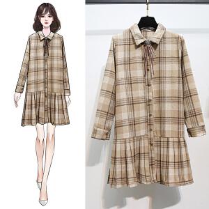 格子连衣裙冬女韩版2020冬季新款复古港味中长款毛呢百褶衬衫裙子