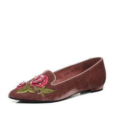 Belle/百丽2017新款秋季时尚刺绣绒布女鞋BPQ05CM7