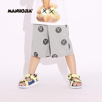 【1件秒杀:68元】马拉丁旗下潮牌MANHOJIA漫画家童装男童裤子夏装新款儿童趣味印花运动风短裤