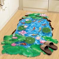 防水3d立体墙贴房间装饰品自粘墙纸贴画瓷砖地砖地板卫生间地贴纸 3D荷塘 特大