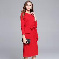 冬装新款女裙子大码红色连衣裙中长款敬酒服小礼服长袖长裙子
