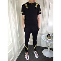 夏季新刺绣修身短袖T恤长裤运动休闲两件套小脚裤潮牌套装 黑色