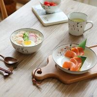 雪点樱花一人食7件餐具套装早午晚餐盘子米饭碗勺子