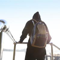 艾伦沃克Alan Walker同款帆布双肩包faded皮背包休闲旅行书包潮男 卡其色
