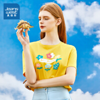 [秒杀价:47.6元,年货节限时抢购,仅限1.15-19]真维斯女装 2020春装新款 棉单面平纹布圆领印花宽松短袖T
