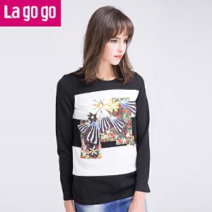 【618大促-每满100减50】lagogo拉谷谷春季新款印花拼接长袖T恤女时尚上衣