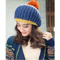 韩版潮撞色时尚冬季针织帽子女秋冬天韩国手工保暖女士毛线帽