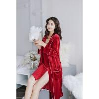 秋金丝绒睡袍两件套装女长袖吊带结婚睡衣性感红色天鹅绒家居服
