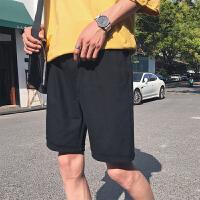 港风男士宽松休闲五分裤夏季新款运动短裤情侣纯色沙滩裤潮男裤子
