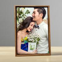�[�_小相框10/12寸高�n婚�桌�[��意定制皮雕照片木�y框�和���真 木�y框+皮照片 12寸�[�_ 20X30cm