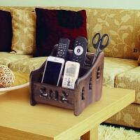 实木遥控器收纳盒客厅多功能桌面收纳盒化妆品收纳盒 复古