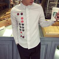 韩版时尚校园风学生个性百搭休闲修身男士长袖衬衣 港仔青年衬衫