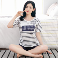 短袖睡衣女韩版夏季女士短裤纯棉卡通休闲全棉大码家居服两件套装