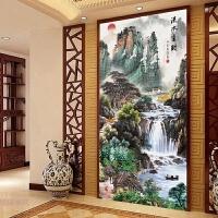 十字绣成品流水生财 客厅山水画风景竖版玄关满绣装饰挂画 1.5米 143*77cm