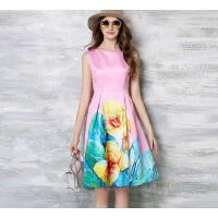 夏新款欧美女装印花优雅A字连衣裙女无袖修身显瘦粉色礼服裙