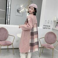 2018秋冬流行韩版格子双面羊绒大衣女粉色中长款羊毛呢子外套 粉红色