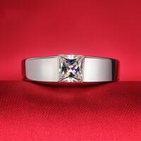 男士钻戒 钻石戒指 男银镀金戒指环时尚婚戒 男戒指环 材质925银镀白金 20号-26号 现货即发