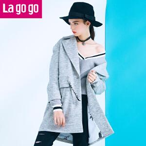 【每满200减100】lagogo秋冬新款女装风衣女中长款灰色外套time:4.17~4.23
