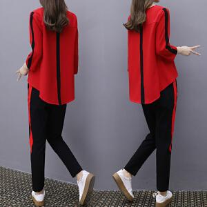 哆哆何伊2018春装新款休闲运动服套装女韩版宽松显瘦时尚七分袖卫衣两件套