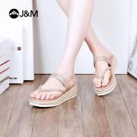 jm快乐玛丽2018夏季新款时尚平底夹趾凉鞋舒适透气女士拖鞋81119W