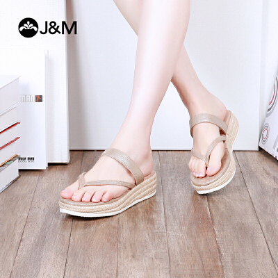 jm快乐玛丽夏季新款时尚平底夹趾凉鞋舒适透气女士拖鞋