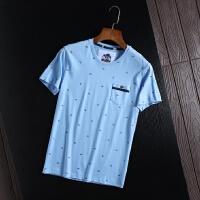 剪标夏装薄圆领短袖T恤青年时尚休闲印花打底衫棉质体恤衫学院风