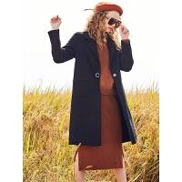 拉夏贝尔秋冬款毛呢外套女中长款韩版新款赫本西装学生小个子大衣女冬