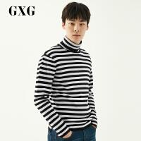 GXG毛衫男装 冬季青年男士黑白条套头高领毛衫针织毛衣衫男