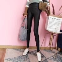 【】皮裤女秋冬高腰打底裤外穿加绒紧身pu皮铅笔小脚裤