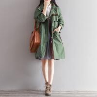 2017秋季森系新款大衣女长袖学院风文艺宽松显瘦中长款风衣外套潮