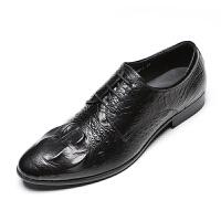 DAZED CONFUSED 青年潮纹尖头皮鞋男英伦风头层牛皮系带商务正装皮鞋