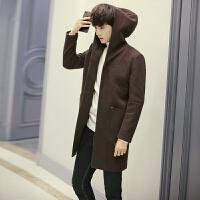 新款冬装帅气大衣男毛呢大衣男士中长款风衣韩版修身妮子外套连帽